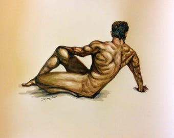 "Original Watercolor Painting, Man Body, 8""x10"", 1704111"