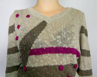 Vintage 1980's Abstract Knit Sweater / Knitted Polka Dot Sweater/ Beige Sweater / Funky 80's Sweater / Retro Women's Sweater / Comfortable