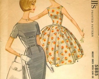 McCall's 5885 vintage 1960's misses dress w/two skirts sewing pattern size 14 bust 34  No envelope