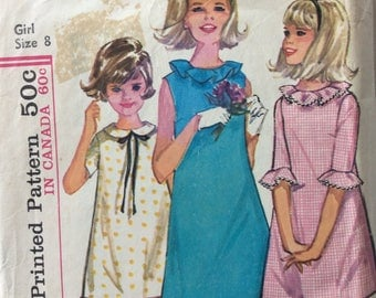 Simplicity 5902 vintage 1960's girls A-line dress sewing pattern size 8