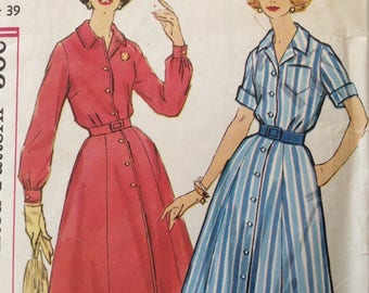 Simplicity 2926 misses half size slenderette shirtwaist dress size 18 1/2 size 18.5 bust 39 vintage 1960's sewing pattern