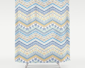 Blue and Yellow Shower Curtain Tuscany Chevron Pattern Italian Shower Curtain Blue Yellow Tribal Pattern Cottage Chic Blue Bathroom Decor