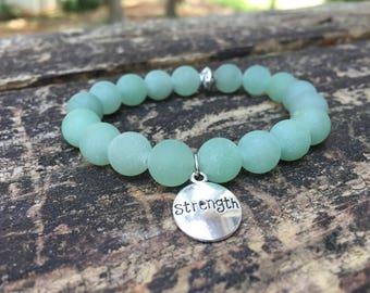 Green Aventurine Bracelet w/ Strength Charm