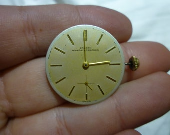 D21 Vintage Croton Nivada Grenchen E3R C2387 Swiss Watch Movement and Dial.