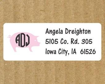 Pig Address Labels, 90 Labels, Personalized Monogram Pig Return Address Labels, Pig Labels, Pig Monogram, Pig