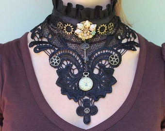 Black Cotton Lace Steampunk Victorian collar with retro brooch, cogs, clock & key.