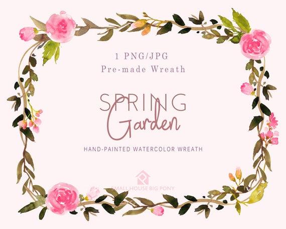 Digital Clipart- Watercolor Flower Clipart, peonies Clip art, Floral Bouquet Clipart, wedding flowers clip art- Spring Garden Wreath