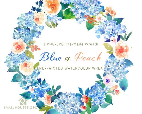 Digital Clipart Watercolor Flower Peonies Clip Art Floral Bouquet Wedding Flowers Blue Peach Wreath