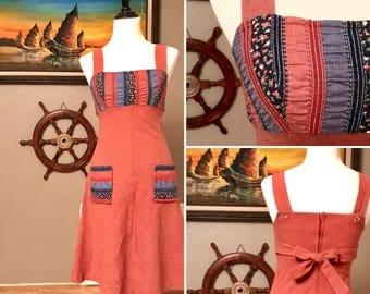 1970s Vintage Pink Prairie Dress