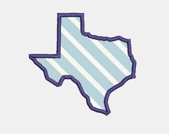 state of texas silhouette applique 2 sizes embroidery machine design