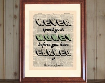 Money Dictionary Print, Thomas Jefferson Money Quote, Accountant Gift, Inspiring Saying, CPA Office Art, Financial Planner Gift, Money Print
