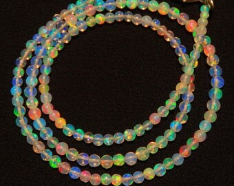 "Natural Ethiopian Welo Opal Rare Round Ball Shape Beads 3 to 3.5MM Necklace 17"" Full Strand Ultimate Quality Super Rainbow Electric Fire"