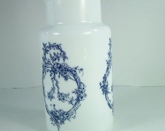 Apothecary jar white opal glass blue pattern bulb lid vintage  Made in Italy