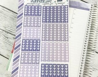 APR-66 || Heart Checklist Stickers for Planner - April EC Color Scheme (58 Removable Matte Stickers)