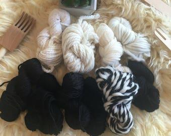 Mixed fibre weaving yarn kit - black & white