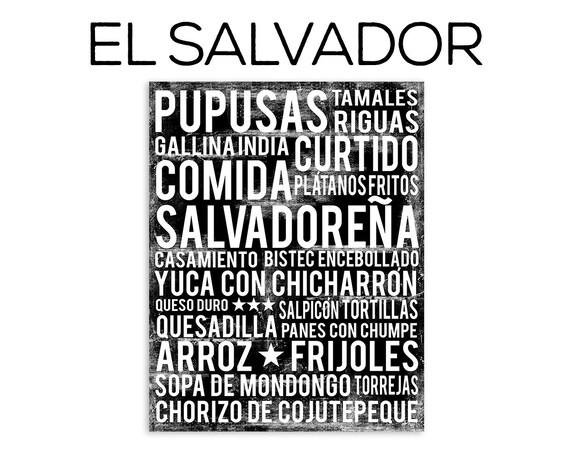 El Salvador Food Poster - Food Word Art - Various Sizes & Colors
