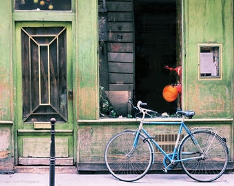 Paris Photography, Bicycle Photo, Green Wall Decor, Paris Wall Art Print, Bike Photography, Parisian Decor, 8 x 10, 11 x 14 Print,
