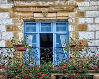 Rustic Window Photography, France Balcony Print, Blue Wall Art, Summer Windowsill Flowers, Country Cottage in France, Cornflower Blue Decor