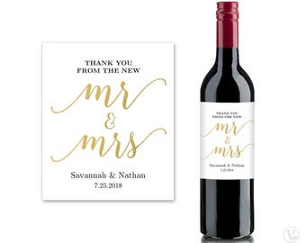 Wine Bottle Labels, Printable Wine Bottle Label Template, Personalized and Editable, Mr & Mrs, VW10