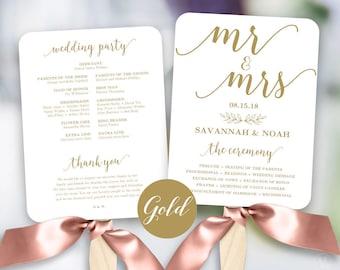 Gold Wedding Program Template, Printable Wedding Fan, Fan Wedding Program, Editable text, 5x7, Modern Calligraphy, VW10GOLD