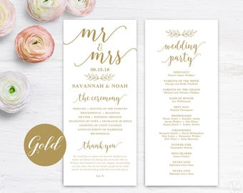 Printable Wedding Program Template, Gold Wedding Programs, DIY Wedding Programs, Editable Text, Tea Length, Modern Calligraphy, VW10GOLD