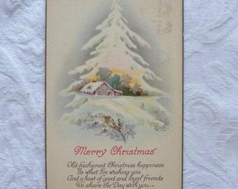 1926 Christmas Postcard House in the Snow Winter Scene in White Tree with Verse Old Fashioned Happiness Mailed ~ 7233b