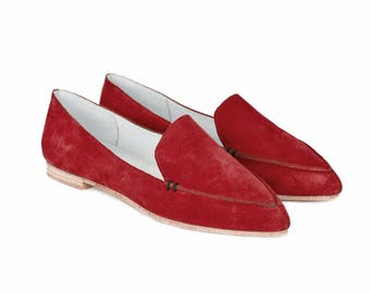 Red suede loafers/ Smoking Slipper