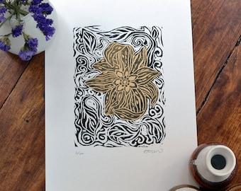 Brilliant blossom - linocut print, black/gold, hand pulled, limited edition, floral art, British gardens