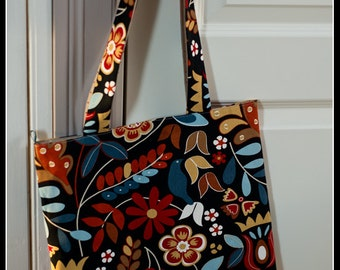 Shopping Bag, Tote bag, Knitting Project Bag, Knitting Bag or Project Bag, Flowery bag