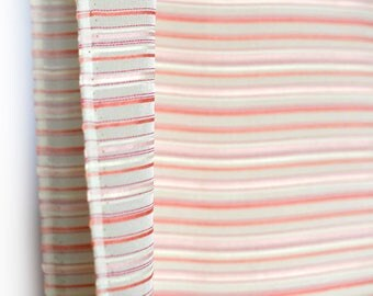 Coral pink cream striped  vintage silk fabric