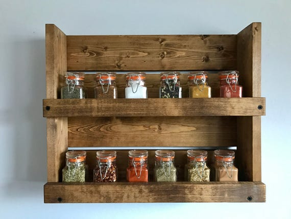Rustic Spice Rack With 2 Shelves Bathroom 2 Shelf Organizer