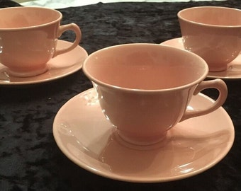 Lot Of 3 Lu-Ray Pastel Pink Tea Cup and Saucer Sets