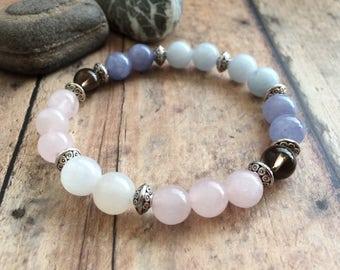 ULTIMATE Fertility Bracelet, Moonstone, Rose Quartz & Aquamarine Bracelet, Feminine Energy Bracelet, Hope For Fertility.