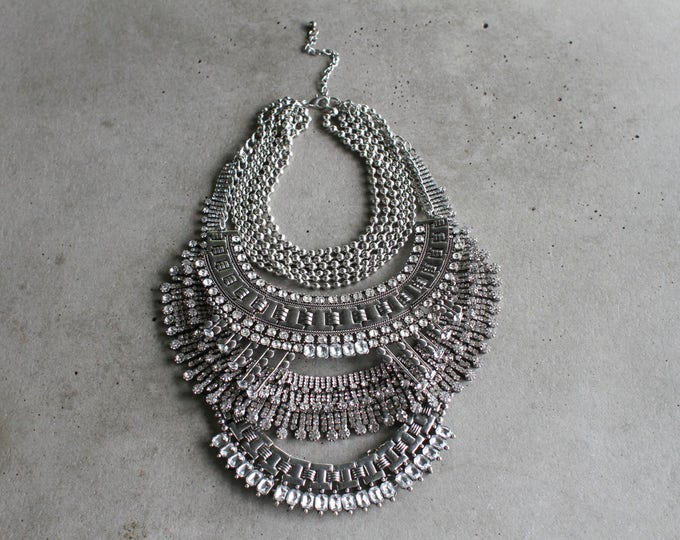 Featured listing image: Statement Necklace - Handcrafted: Jackson. Silver & clear crystal layered ethnic bohemian necklace