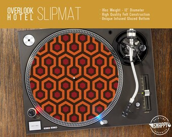 "Overlook Hotel Pattern Turntable Slipmat - 12"" LP Record Player, DJ Slipmat- 16oz Felt w/ Glazed Bottom"