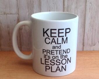 Personalised mug teacher gift keep calm lesson plan funny mug