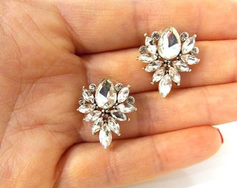 Vintage Style Crystal Stud Earrings Bridal Prom Weddings Bridesmaids