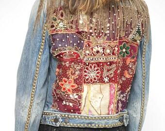 Boho Embellished Chain Jacket/  Jeans Studded Jacket/ Vintage patch embroidery Jacket/ SMALL