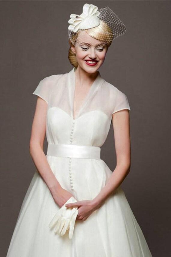 Vintage 40s Style Wedding Dresses : Custom order s vintage style ivory organza wedding dress