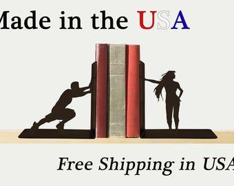Man vs Woman Bookends, Fun Decor, Metal Art, Book Ends, Book Shelf, Man Cave Decor, Library, Home Decor, Free USA Shipping, BE1024