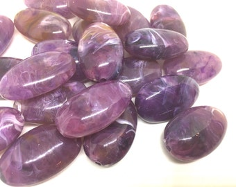 Purple Beads, The Beach Collection, 32mm Oval Beads, Big Acrylic beads, Big Beads, Bangle Beads, Wire Bangle, Beaded Jewelry