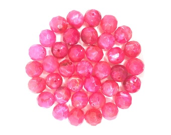 16mm Faceted Pink Beads, big acrylic beads, bracelet beads, necklace beads, acrylic bangle beads, pink jewelry, pink beads, pink bangle