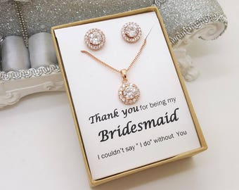 Rose Gold Bridesmaid CZ Jewelry Set ,Bridesmaid Gift, Maid of Honor Jewelry, Gift Box, Flat Halo Set-Rose Gold