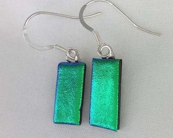 Green-Dichroic Glass Drop Earrings -925 Silver