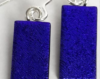 Blue-Dichroic Glass Drop Earrings 925 Silver Y/B