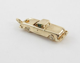 Vintage 14K Yellow Gold 3D Convertbile Sport Car Automobile Charm Pendant