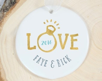 Personalized Ornament - Engagement Ring Ornament - Love Porcelain Ornament