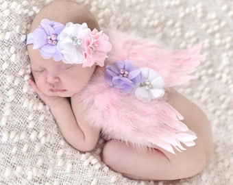 Boutique Infant Angel Wings and Headband Photo Prop