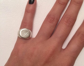 Pinky ring, Signet Ring, Engraved ring, Personalized Ring, sterling silver ring, Monogram Initial Ring, letter Ring