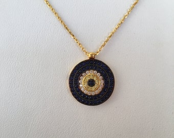 evil eye necklace in real gold plated sterling silver and zirconia, safe to get wet this beautiful necklace be sure you'll love the quality